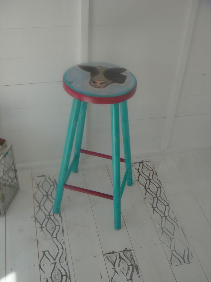 hand painted bar stool...
