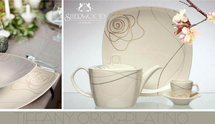 set tavola Tiffany - Sherwood of England in porcellana con rifiniture oro e platino   porcellana