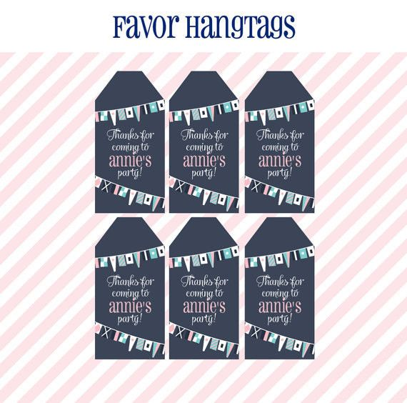 Nautical Birthday Party - FAVOR TAGS - Printable Girl Nautical Decorations - Favor Hantags - DIY Nautical Birthday Party in Pink and Navy