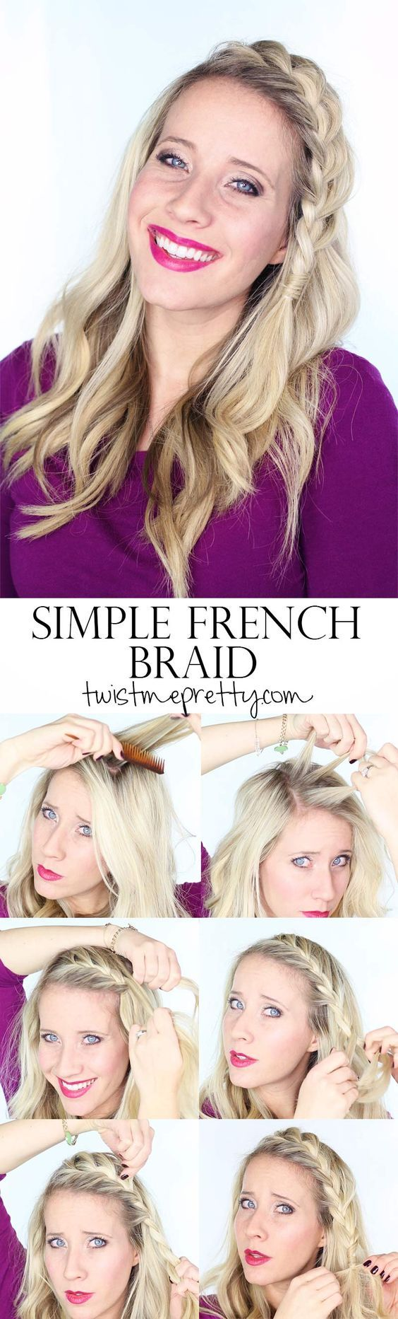 One of the things I love about front French braids (besides how pretty they look) is that they're fairly easy to do because you canactually see what you're doing. There's no feeling around at the back of your head, hoping that you're forming a plait. You can look in the mirror and seeexactlywhat's going on.