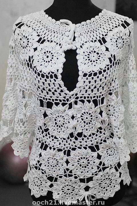 lovely crochet shirt ...would be lovely with a bright color tank top under it for summer!
