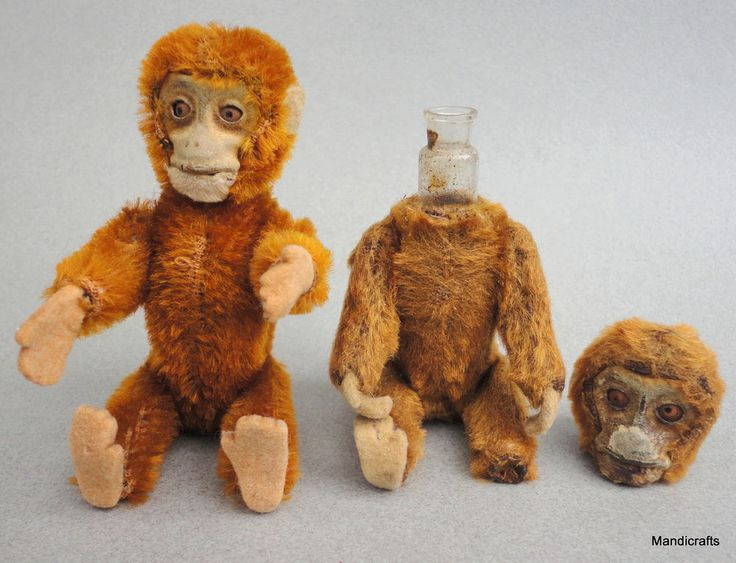 Schuco #Perfume #Monkey x 2 Cinnamon Mohair Plush over Metal 1930s 5in 13cm Vanity #Schuco AllOccasion