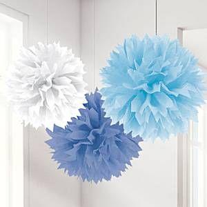 Blue Mix Pom Pom Decorations - 40cm