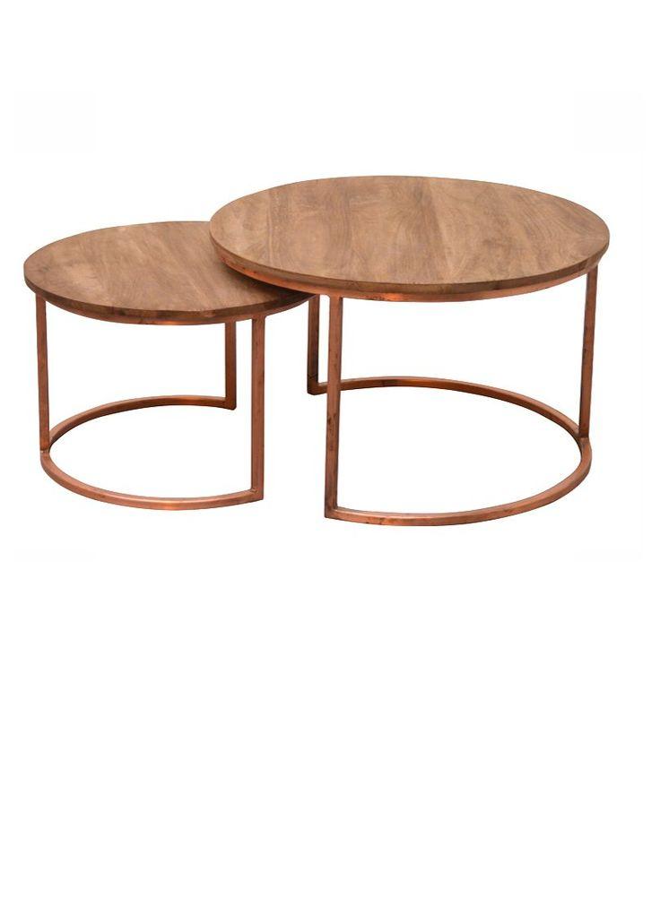 Couchtisch Jack 2er Set aus Kupfer und Holz Größe: ca. Durchmesser / Höhe Groß: 75 x 48 cm- Klein: 60 x 40 cm