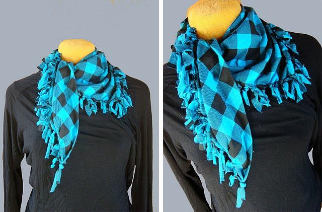 no sew scarf tutorialHomemade Scarf, Scarf Tutorials, Nosew Scarf, Old Shirts, Nosew Diy, Diy Scarf, Christmas Ideas, Scarf Pattern, No Sewing Scarf
