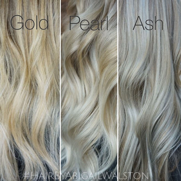 Instagram- @Abigail_Walston -Tones- Gold tones are reflective and appear lighter, looks great on warm skin tones.  Pearl tones are the perfect balance between cool and warm and gives off more of an opalescent effect, looks great on both warm and cool skin tones.  Ash appears more silver/grey, ash tones are not as reflective so blonde will appear darker, looks great on cool and fair skin tones. Ash isn't always flattering on older women vs gold tones that make them appear more youthful