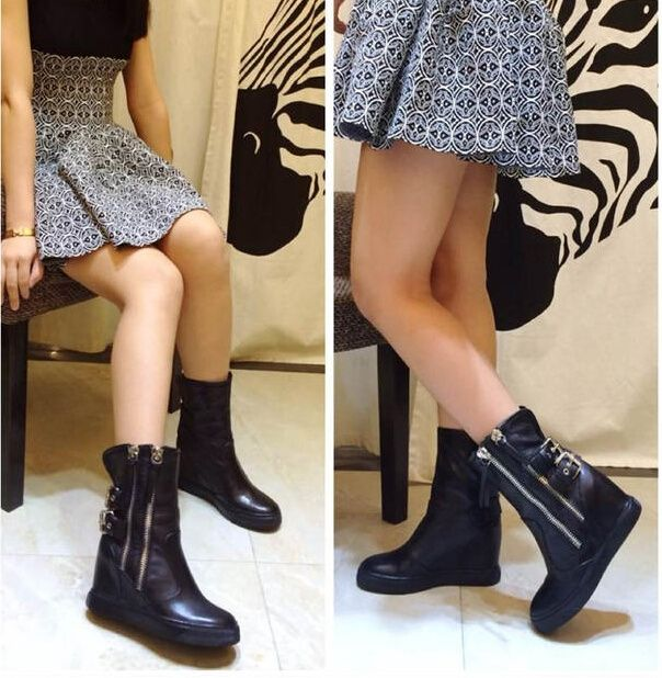 105.00$  Watch more here  - 2016 new fashion mid calf round toe height increasing heel black white boot for woman in spring and autumn big size 35-41