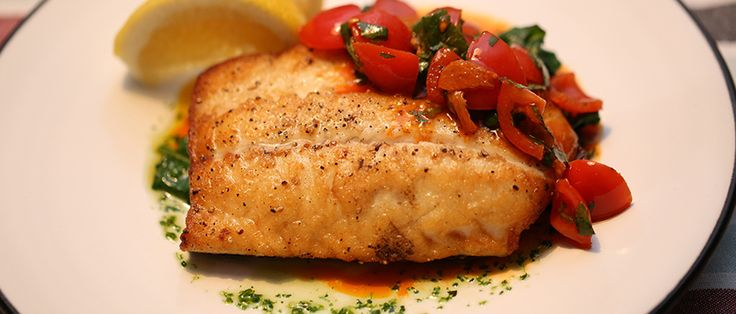 Recipe - Turbot with Fried Garlic, Smoked Paprika and Cherry Tomato Dressing by Georgina O'Sullivan. Find this delicious fish recipe on Recipe Guru