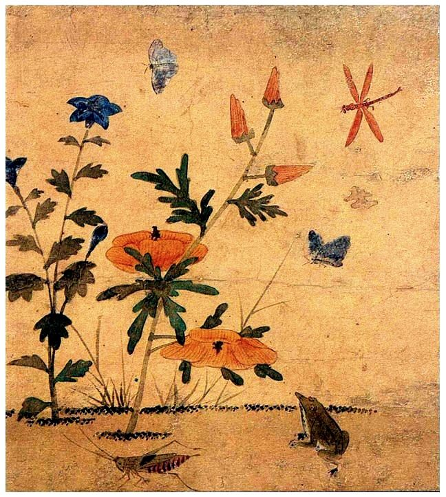 (Korea) 어숭이아 개구리 by Lady Shin Saimdang (1504-1551). 34.0× 28.3cm. ca 16th century CE. color on silk. National Museum of Korea.