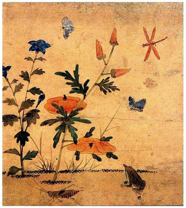 (Korea) 어숭이아 개구리 by Lady Shin Saimdang (1504-1551). 34.0× 28.3cm. ca 16th century CE. color on silk. National Museum of Korea.
