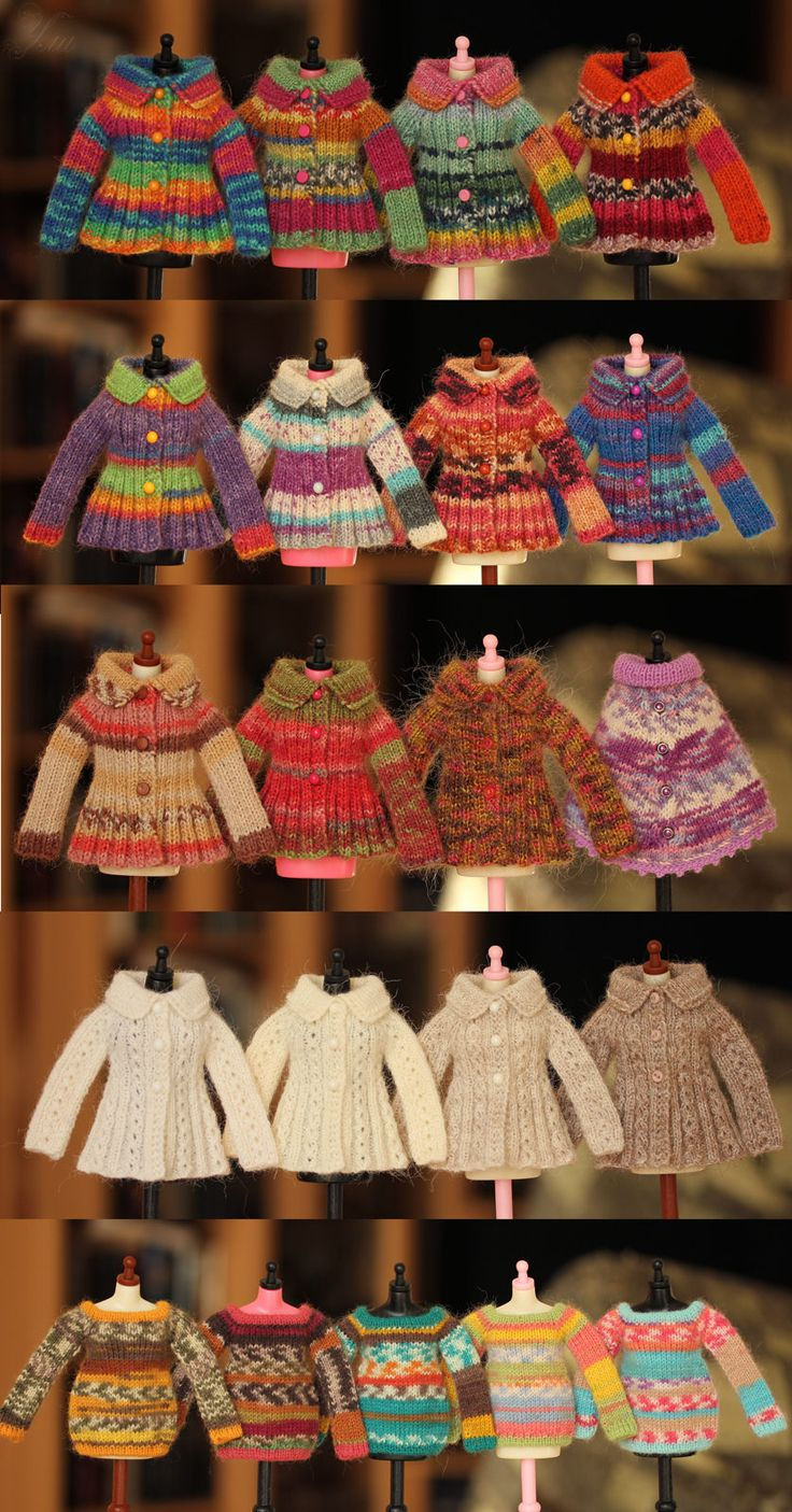 https://flic.kr/p/y3qvGD | Untitled | Big update today, welcome :) The upper first row - the old version of the thick cardigans for blythe. Second row and next will be only a new version thin multi-colored yarn for this model cardigan.