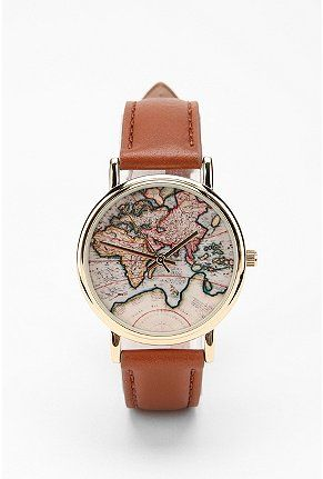 Travel watch with world map. Stylish!