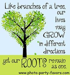Family Reunion Quote - Like branches of a tree, our lives may grow in different directions but our roots remain as one. More family reunion quotes and family reunion favors at http://www.photo-party-favors.com/