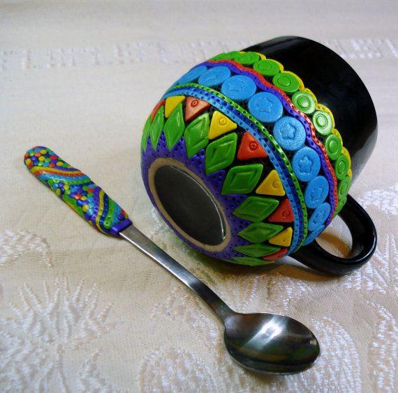 Ethnic look Mug + Spoon set polymer clay mug spoon gift ooak unique ethnic look vivid colorful decorated handmade set