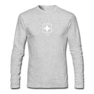 Langarmshirts: Männer-Langarmshirt von American Apparel mit Schweizerkreuz Icon Weiss