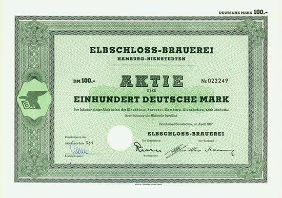 Elbschloss-Brauerei Hamburg-Nienstedten, April 1967, Aktie über 100 DM
