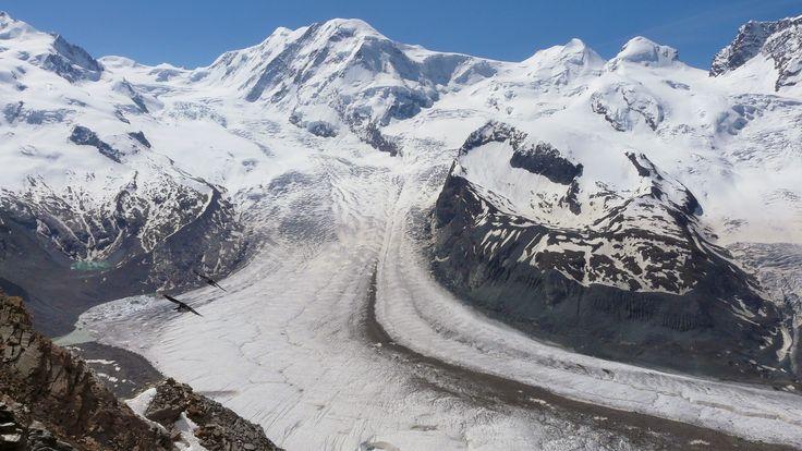 Pohled na ledovec Grenzgletscher.