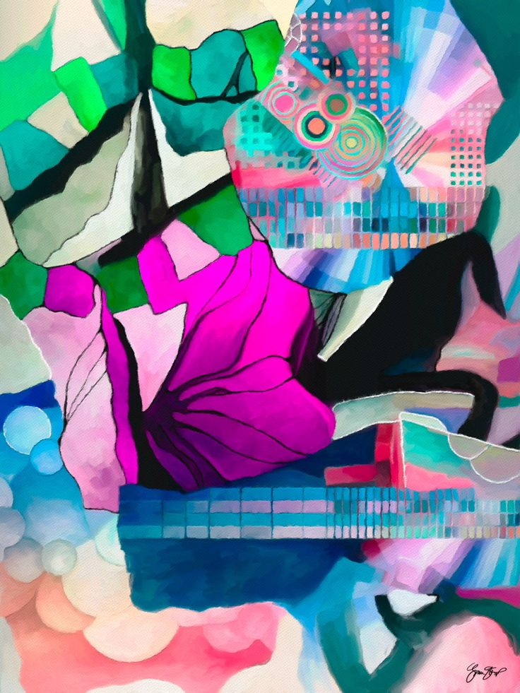 Abstract art mixed media by Gina Startup