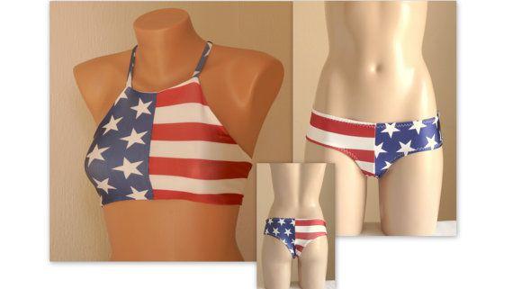 BS1562 PADDED ..American flag high neck halter bikini top and boyshort bottoms-Swimsuit-4th July bikini-American flag bikini-Plus size