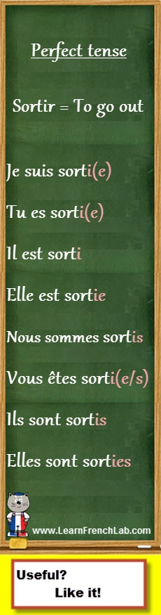 "http://www.learnfrenchlab.com       Learn French #verbs #conjugation       Sortir au passé composé - Conjugate ""to go out"" in the perfect tense"
