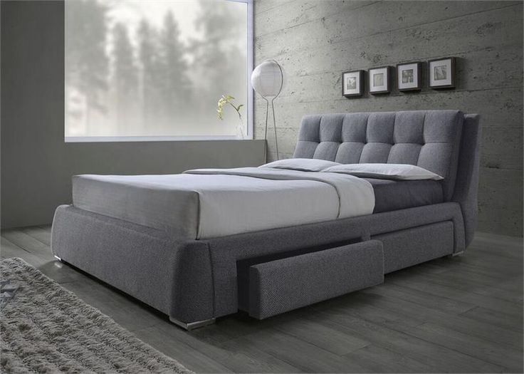 Grey fabric platform bed with storage drawers shops for Upholstered platform bed with drawers
