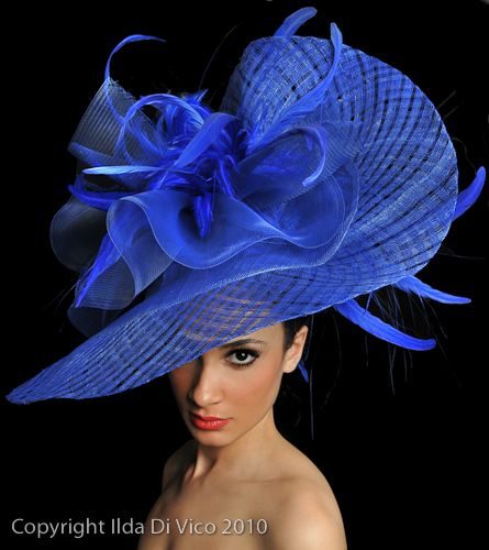 bold and blue derby style hat                                                                                                                                                     More