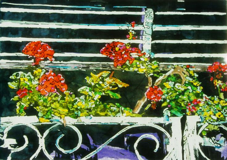 """geranium balcony lido venice 10"""" x 16"""" micheal zarowsky / watercolour on arches paper / available $400.00"""