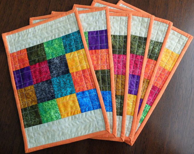 Set of six quilted patchwork placemats, modern multicoloured mats, dining decor, reversible patchwork placemats