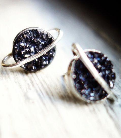 beautiful druzy saturn stud earrings