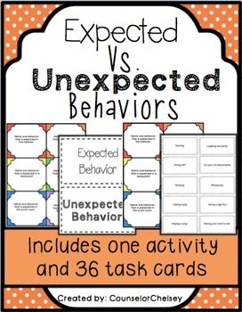 Active, engaging activity and 36 task cards to help students learn about expected and unexpected behaviors. Great for zones of regulation.