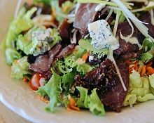 Biltong Salad Beef biltong salad with garden greens, blue cheese, fig preserve and  our special dressing