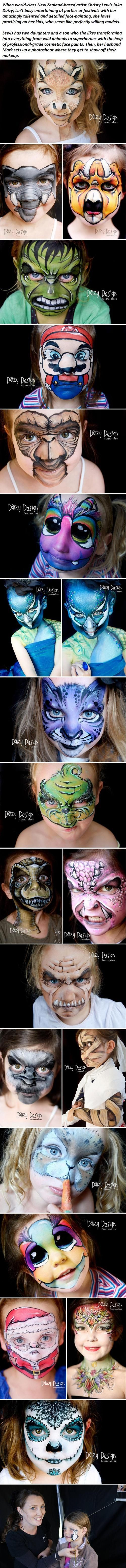 A Mother Turns Her Children's Faces Into Wild And Fantastic Creatures... -   Misc