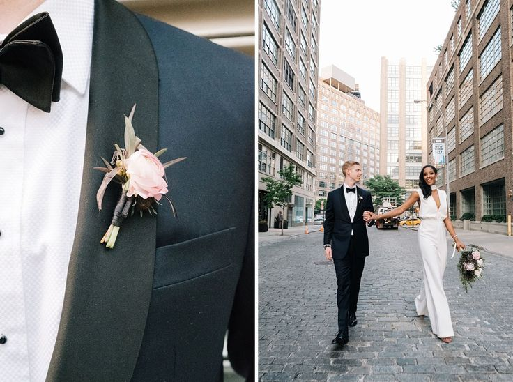 Wedding buttonholes - boutonniere Rooftop NYC Summer Wedding