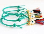 Evil Eye Bracelet Evil Eye Adjustable Leather Bracelet with Ombre Tassel, Evil Eye Charm and Round Ball Charm