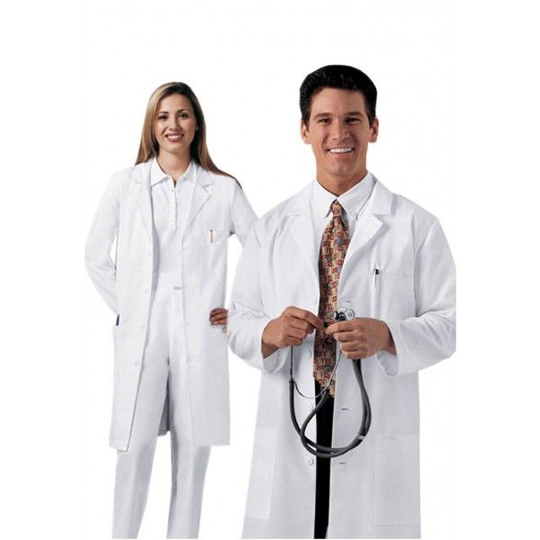 """Cherokee Unisex White Lab Coat. This smart Unisex White Lab Coat from our Cherokee design range is styled with side access openings, two roomy patch pockets, a chest pocket with a pencil stitch, and vented back. The Cherokee Unisex White Lab Coat measures along the centre back length at 40"""". It also comes in a range of size options from XS – 5XL to cater for petite, plus, big and tall body shapes. £24.99  #labcoat"""