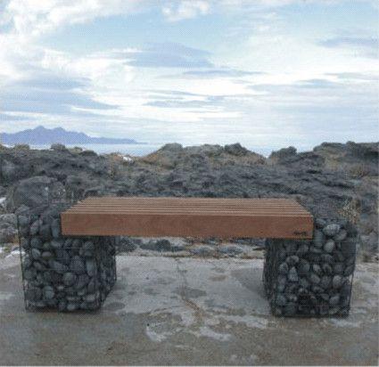 Gabion Bench - Sculptural Garden Bench - contemporary - outdoor stools and benches - - by Unique Garden Decor