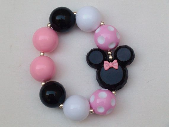 Disney Classic Light Pink Minnie Mouse Inspired Chunky Bracelet, M2M Girls Chunky Necklace, or Chunky Necklace / Dapper Day