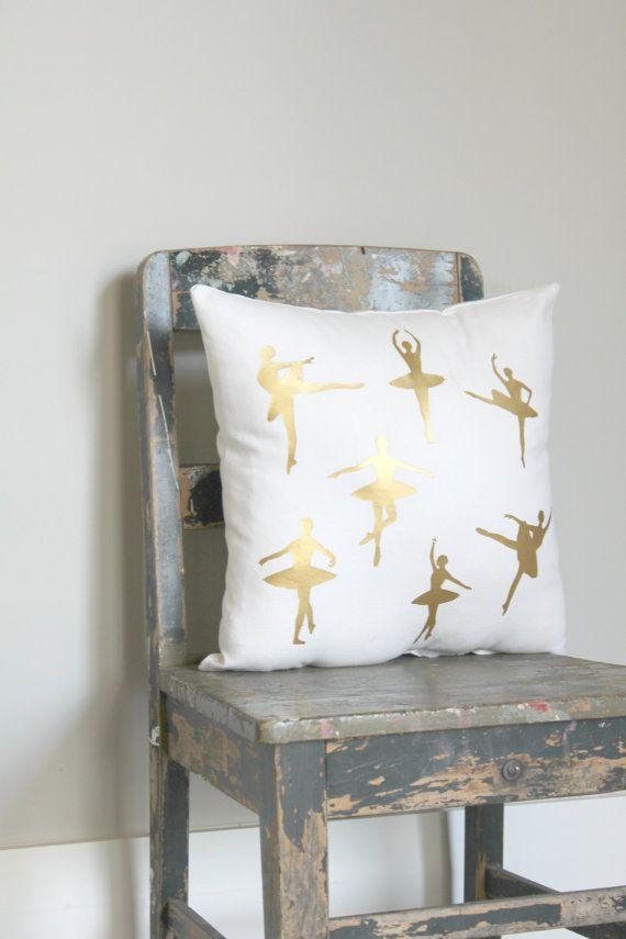 Gorgeous Gold Ballet Dancer Pillow Cover Gold Ballet Cushion Girls Ballet Bedroom Decor Metallic Gold Pillow White Gold Ballet Cushion