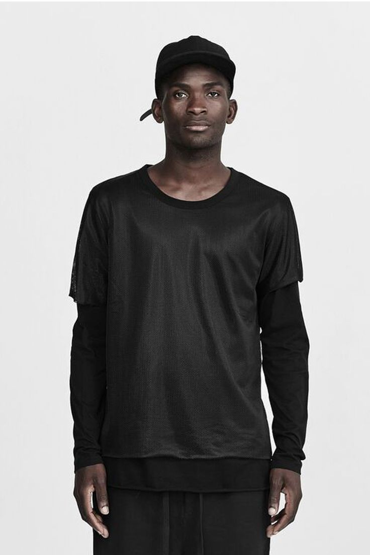 commoners - Double Layer Mesh Long Sleeve T | Black