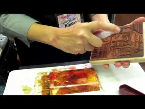 ▶ Make Beautiful Greeting Card Backgrounds with Splash Ink and Rubber Stamps - YouTube