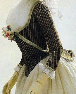 "The ""pierrot"", a short fitted jacket with short tails, was popular from the mid-1780s through the 1790s."