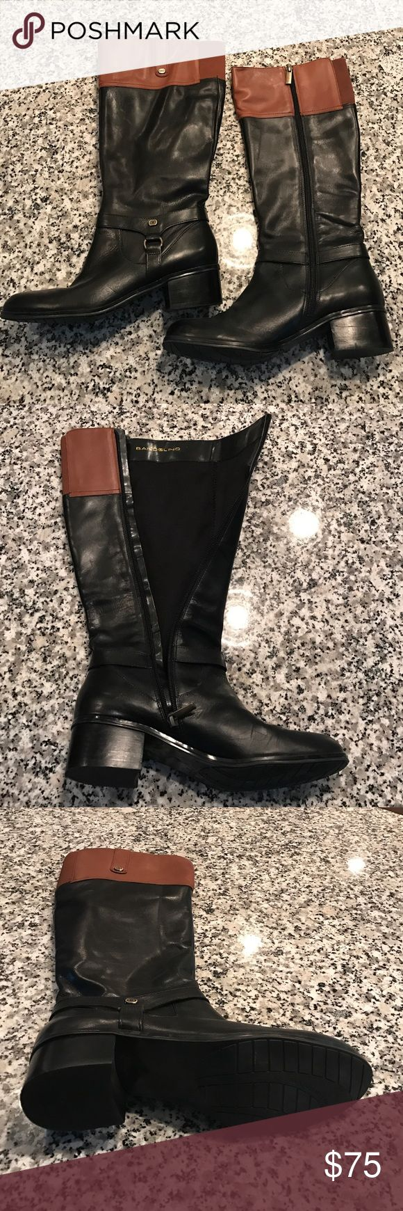 Bandolino Women's Riding Boots - Size 9 Women's Bandolino Riding Boots.  Worn only once.  Size 9.  Black with brown at the top.  Great condition.   Like-new Boots. Bandolino Shoes Heeled Boots