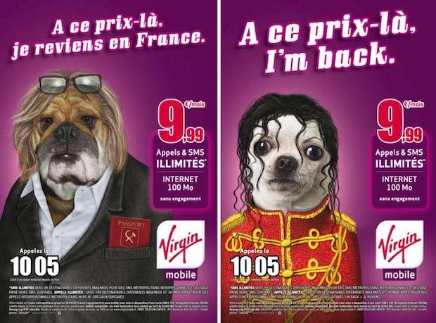 Publicité Virgin Mobile : G. Depardieu et M. Jackson !