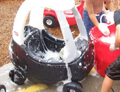 Toy Car Wash! Great way to wash outside toys during water day and wash winter off your outdoor toys.