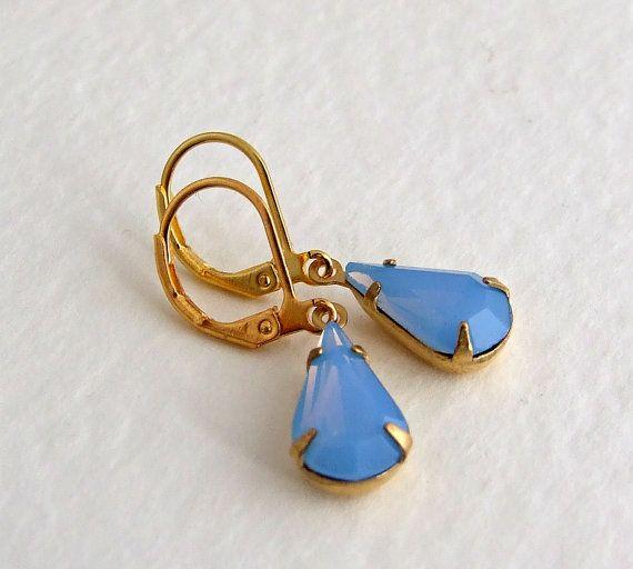 Blue Opal Earrings ... cornflower blue pastel by beadishdelight