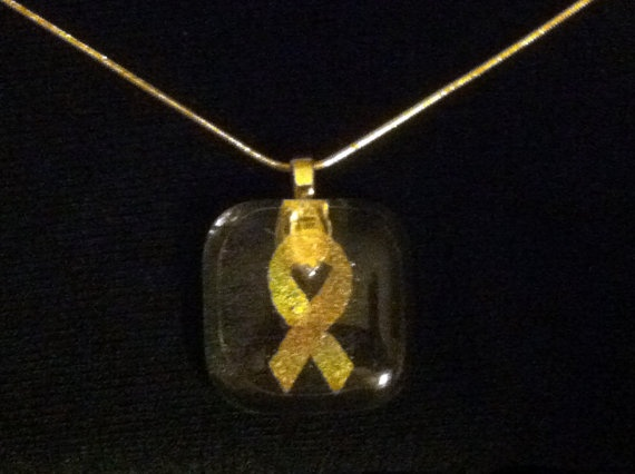 Support Our Troops Yellow Ribbon Dichroic  by JulieBsJewels, $20.00-SOLD 6/9/12