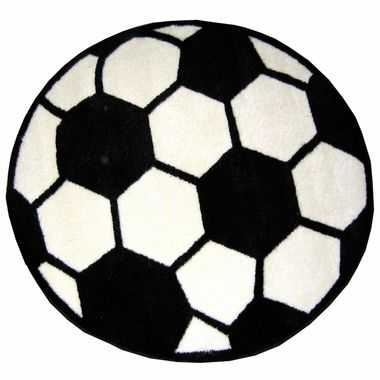 """World Cup fans will love this soccer rug in any child's room.  Fun Rugs Soccerball Round High Pile Rug 39"""" FREE SHIPPING #worldcup #soccer @FunRugs"""
