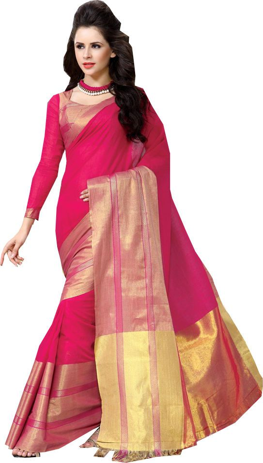 Rani Pink Causal Wear Saree Zari Work Printed Pallu Cotton Sari #SareeStudio #SareeSari #CausalWear