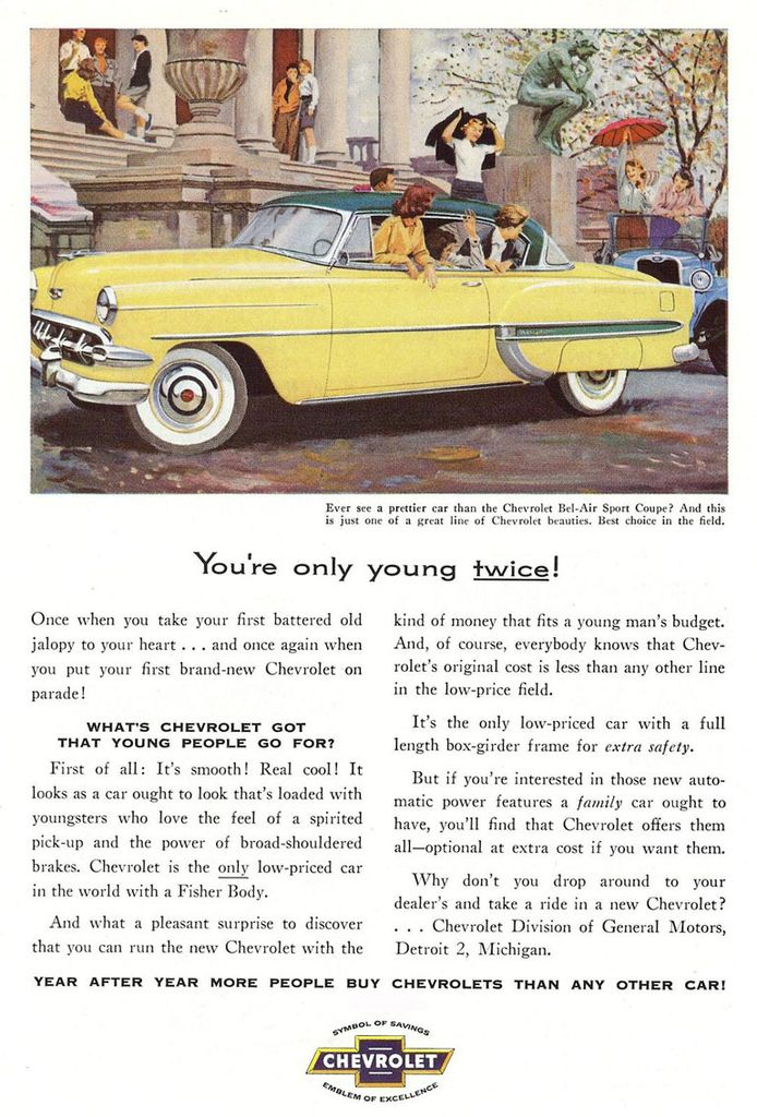 1954 Chevy Bel Air Ad Chevrolet bel air, Sports coupe
