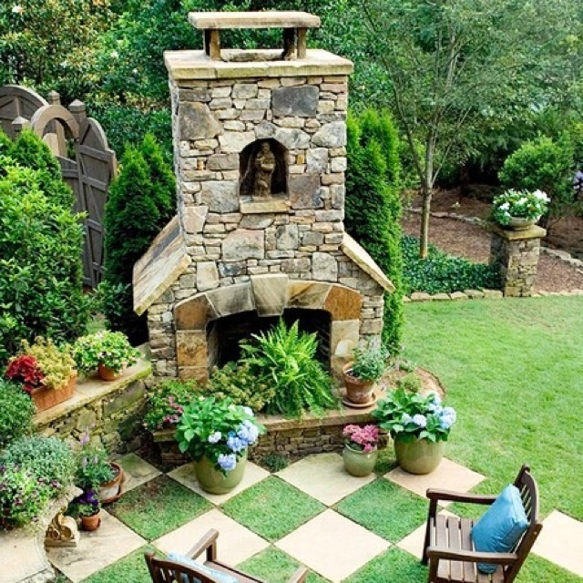 23 best out door fireplace images on pinterest dreams for Checkerboard garden designs
